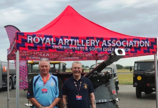 David Hadjicostas MBE, Branch Chair & Ron Clifton, Branch Membership Secretary of the Shoeburyness & South Essex Branch, Royal Artillery Association stand proud with the 25lb'er gun
